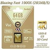 Amplim 64GB UHS-II SDXC SD Card Blazing Fast Read 285MB/S (1900X) Class 10 U3 Ultra High Speed V60 UHSII Extreme Pro SD XC Memory Card. Professional 4K 8K Video Shooting 64 GB / 64G TF Flash. New