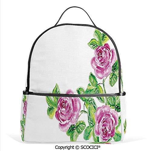 - 3D Printed Pattern Backpack Picturesque Glamour Dramatic Rose Figures with Cracked Effect,Pink Green,Adorable Funny Personalized Graphics