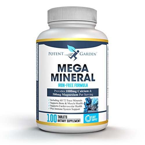 Mega Minerals by Potent Garden | Multi Mineral Supplement (Iron Free) with 72 Trace Minerals | 100 Tablets (100 Mineral Multi Tablets Supplement)