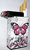 Cigarette Case Pink Butterfly with Built on Lighter Holder