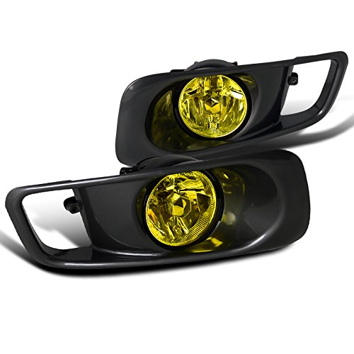 2000 Honda Civic Fog Lights (Spec-D Tuning LF-CV99AMOEM Honda Civic Ex Dx Lx Gx Hx Sedan Coupe 2 4 Door, Yellow Fog Lights Black Case)