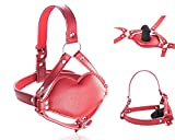 SM Realistic Dildo Penis Harness Mouth Gag with Adjustable Bondage PU Leather Strap Adult Sex Toy for BDSM Roleplay Games (Red)