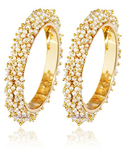 d05f7d2ccd3c4 YouBella Jewellery Gold Plated Pearl Studded Bracelet Bangles Set for Women  and Girls  Amazon.in  Jewellery