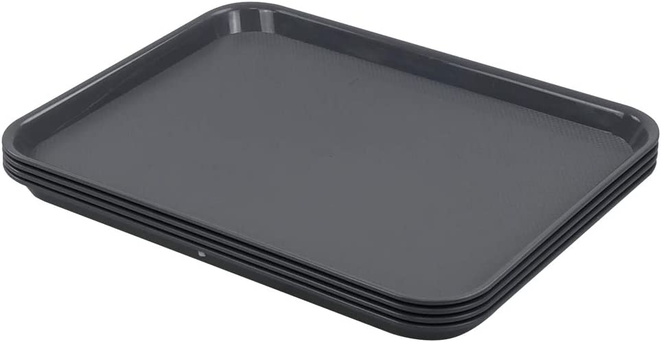 Nesmilers Plastic Fast Food Trays, Cafeteria Trays, 4 Pack Serving Trays (Grey)