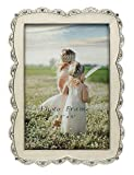 L&T Ivory White Enamel Picture Frame Metal with Silver Plated and Crystals, Charming 3.5x5 Tabletop Photo Frame