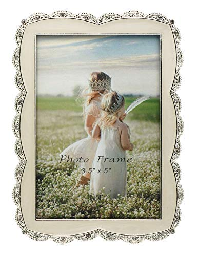 (L&T Ivory White Enamel Picture Frame Metal with Silver Plated and Crystals, Charming 3.5x5 Tabletop Photo Frame)