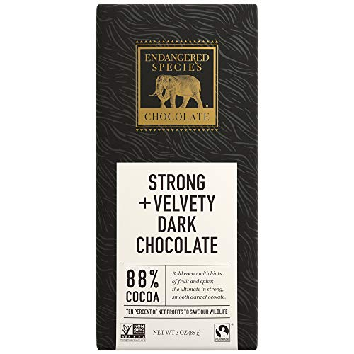 Endangered Species Dark Chocolate - Endangered Species Panther, Fair Trade Dark Chocolate Bar, 88% Cocoa - 3 Ounce Bars (12 Pack)