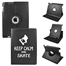 Keep Calm And Play Skate On IPad Mini 4 Leather Rotating Case 360 Degrees Multi-angle Vertical and Horizontal Stand with Strap (Black)