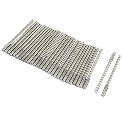 uxcell® 30Pcs 2.3mm Shank 3mm Cylinder Tip Diamond Mounted Points Grinding Bit