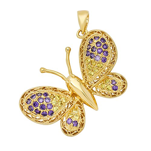 The Bling Factory Gold Plated Filigree Butterfly w/Violet & Yellow CZs Pendant + Microfiber Jewelry Polishing Cloth ()