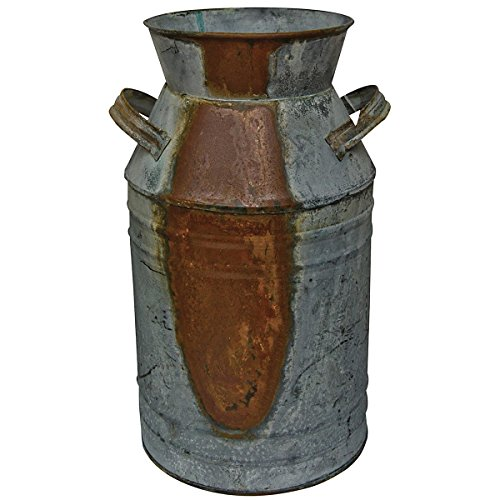 CWI Gifts Milk Can Galvanized Finish  Country Rustic Primitive Jug Vase by HS 103/4quot L