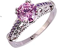 Veunora 925 Sterling Silver Created Rainbow Topaz Filled Promise Ring for Women