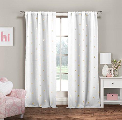 Lala + Bash Rebeccah Metallic Blackout Darkening Window Curtain 2 Panel, 37 x 84, White & Gold