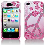 Premium - Apple iPhone 4G Protex Flower Peace Design Protective Case(Carrier: AT&T) - Faceplate - Case - Snap On - Perfect Fit Guaranteed