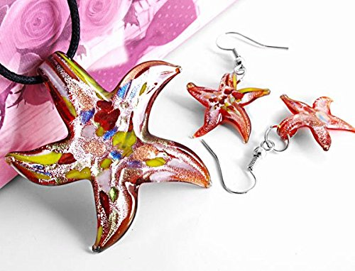 Ecloud Shop Set Starfish Glass Murano Lampwork Necklace Earrings FASHION (Starfish Murano Glass Earrings)