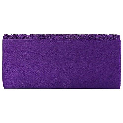 Wocharm TM Wedding Womens Evening Fashion handbag Prom Ladies Satin Lace Purple Bag Bag Clutch Bridal qqrZdvx