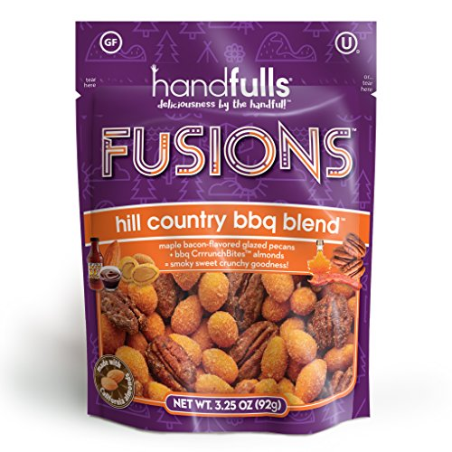 Fusions Hill Country BBQ Blend: Smoky and Sweet Trail Mix by Handfulls. Grillmaster flavor featuring maple bacon glazed pecans and BBQ almonds - gluten free - 3.25 oz share bags ()