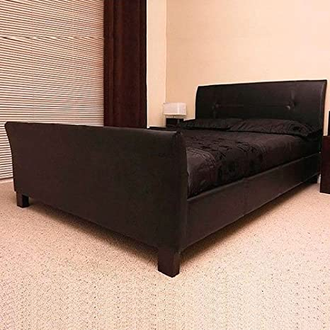 Frankfurt & Co - Italian Modern Designer Sleigh Bed Only - Available in 3 sizes and 2 Colours … (Brown, 4FT Small Double)