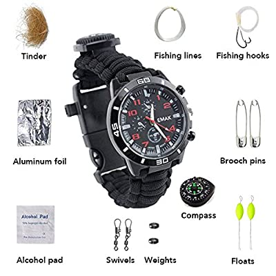Ultrafun Emergency Paracord Survival Bracelet Watch with Fire Starter, Thermometer, Whistle & Fishing Kit