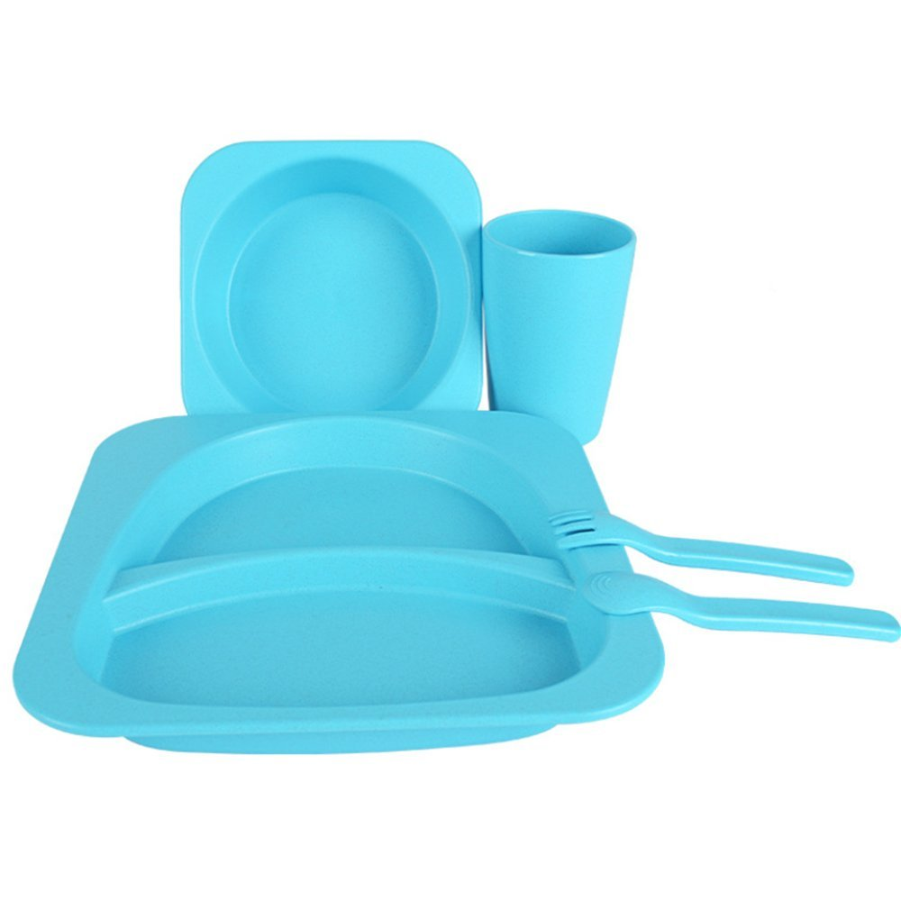LLZJ Babies Tableware Dishes Sets Bowls Cup Tray Fork Spoon Tip Children's Separate Cutlery Toddler Feeding Training Self-Feeding Easy Clean,Blue