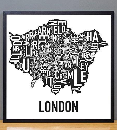 Framed Greater London Boroughs Map, Black & White, 18