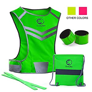 Reflective Vest EvoLike of Unique Design for Running Walking Cycling Jogging Motorcycle with Pocket + 4 High Visibility Wristbands + Bag (Fluorescent Green, Size S/M)