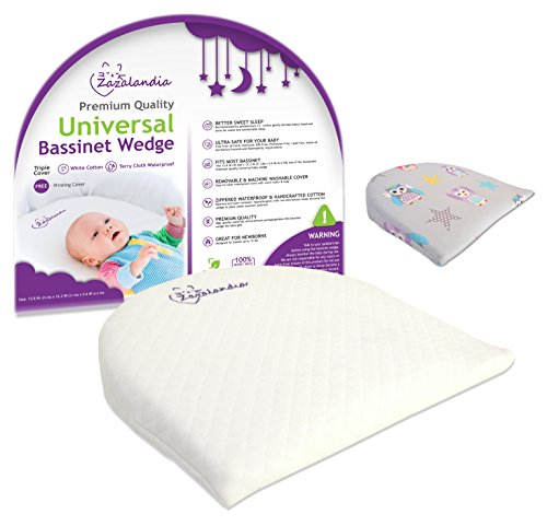 Zazalandia Universal Bassinet Wedge Pillow | Pregnancy Pillow|12-degree incline | % Waterproof Layer & Handcrafted Cotton Removable Cover | Included Second Printed Cover with Owls - Travel Wedge Strap