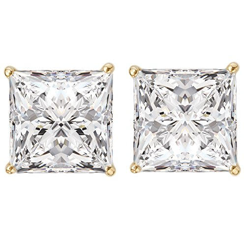 14k Yellow Gold Princess-Cut Solitaire CZ Stud Earrings (3.0ctw)