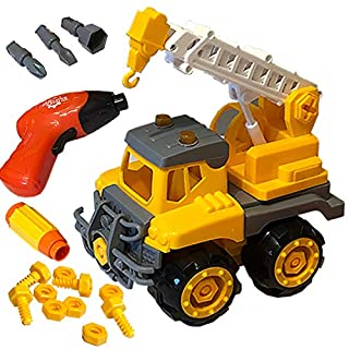 Kids Build Play & Take Apart Construction Truck Toy Crane, Electric Drill Tool Set, Boys Girls & Toddlers, Birthday Gift, 4 5 6 Year Old - Improve Fine Motor Skills, Critical Thinking & Homeschool