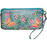 Genuine Leather Wristlet Cell Phone Carry/Change Purse/wallet. Flowers & Butterflies Pattern