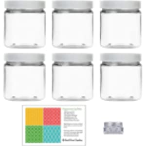 Amazon.com: Tapa transparente de plástico 16 oz Jar color ...