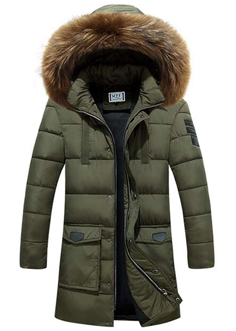 UUYUK Men Thermal Oversized Hipster Packable Insulated Hooded Puffer Down Jacket