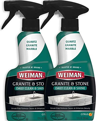 Weiman Granite Cleaner and Polish - 12 Ounce (2 Pack) - Non-Toxic Safe for Granite Marble Soapstone Quartz Quartzite Slate Limestone Corian Laminate Tile Countertop