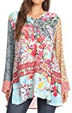 Sakkas 1815 - Ince Womens Long Sleeve Everyday Top Tunic Colorful and Lightweight - FLM196-Multi - OSP