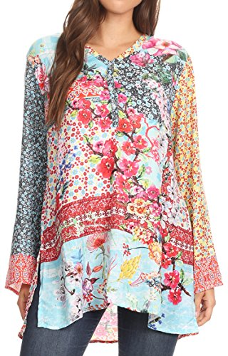 Sakkas 1815 - Ince Womens Long Sleeve Everyday Top Tunic Colorful and Lightweight - FLM196-Multi - OSP by Sakkas