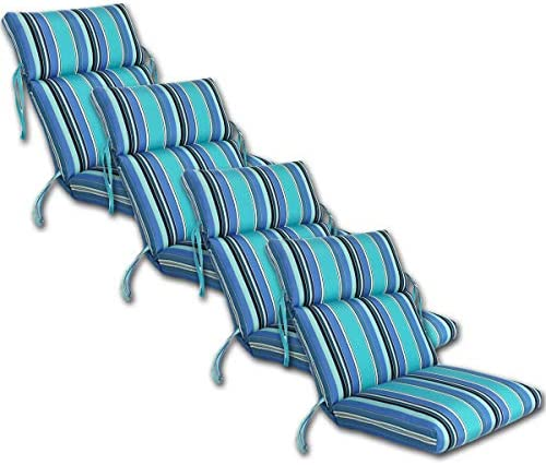 Comfort Classics Inc. Set of 4 Outdoor CHANNELED Chair Cushions 22W x 44L x 3H Hinge at 24″