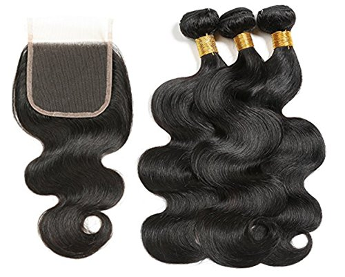 RUIMEISI 8A Brazilian Virgin Hair body wave 3 Bundles with Closure 100% Unprocessed Human Hair Weave With Lace Closure (20 22 24+18) by RUIMEISI