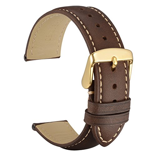 WOCCI 14mm Watch Band - Vintage Leather Watch Strap Dark Brown with Gold Buckle (Contrasting Stitching) 14mm Ladies Watch Band