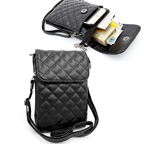 Dlames Womens Soft PU Leather Cell Phone Shoulder Bag Small Crossbody Purses Pouch Lady Wallet with Shoulder Strap (Black)