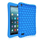 kindle fire protection case - Fintie Silicone Case for all-new Amazon Fire 7 Tablet (7th Generation, 2017 Release) - [Honey Comb Upgraded Version] [Kids Friendly] Light Weight [Anti Slip] Shock Proof Protective Cover, Blue