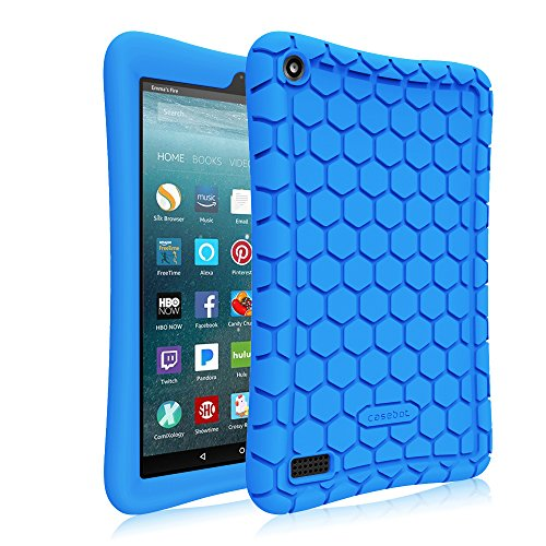 Fintie Silicone Case For All New Amazon Fire 7 Tablet  7Th Generation  2017 Release     Honey Comb Upgraded Version   Kids Friendly  Light Weight  Anti Slip  Shock Proof Protective Cover  Blue