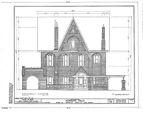 Historic Pictoric Blueprint Diagram HABS NC,34-Kern,1- (Sheet 6 of 10) - Korner's Folly, 271 South Main Street, Kernersville, Forsyth County, NC 24in x 18in