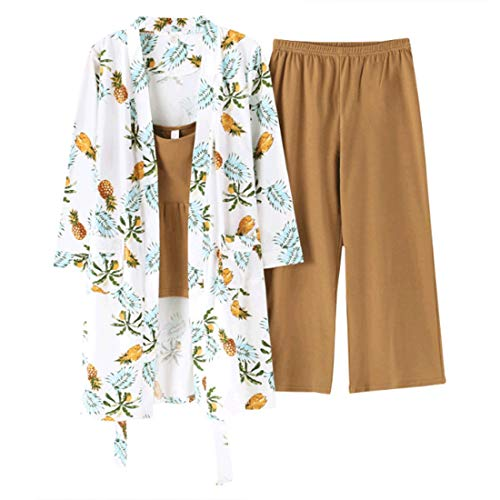 Yellow Cotton Vest l Pigiama Pigiama Deep Tre Sexy Loveni Pezzi Stampa Set Da Donna Di qHxgXY