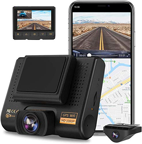 AQP Dual Dash Cam, Full HD 1080P Car Camera Front and Rear for Cars, Dashboard Camera Recorder with GPS & WiFi, 170°/150…