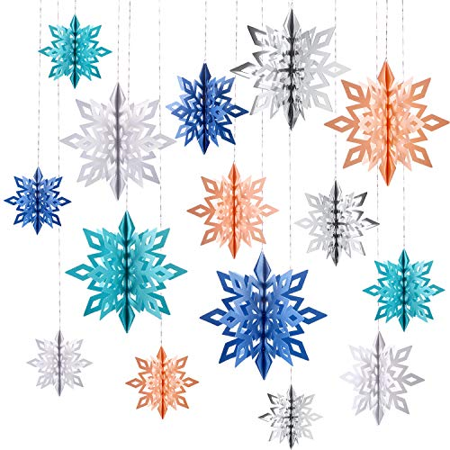 Tatuo 30 Pieces 3D Snowflake Ornaments Paper Hanging Snowflake in 3 Sizes with Rope for Christmas Decorations Xmas Tree Hanging Embellishing - Paper Ornaments Snowflake