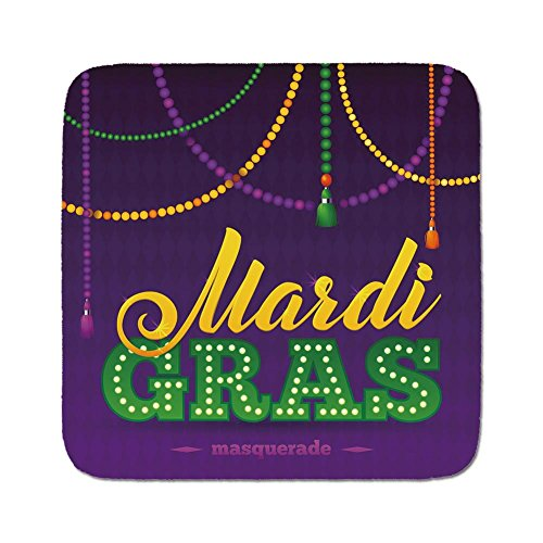 Cozy Seat Protector Pads Cushion Area Rug,Mardi Gras,Beads and Tassels Masquerade Theme Calligraphy Design Fun Print Decorative,Purple Marigold Fern Green,Easy to Use on Any Surface ()