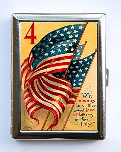 American Flag Cigarette Case Wallet Business Card Holder reto ()