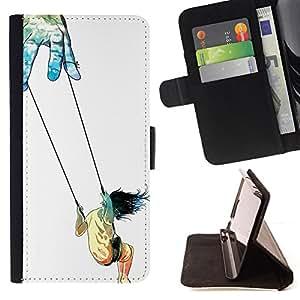 BullDog Case - FOR/Samsung Galaxy S3 Mini I8190Samsung Galaxy S3 Mini I8190 / - / SYMBOLIC ART TRUST LIFE SWING GIRL GOD HANDS /- Monedero de cuero de la PU Llevar cubierta de la caja con el ID Credit Card Slots Flip funda de cuer