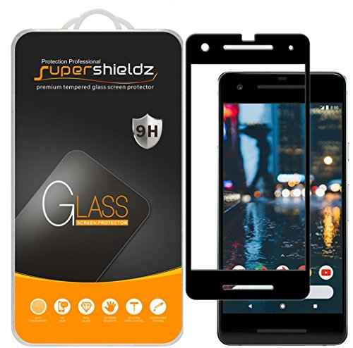 [2-Pack] Supershieldz for Google Pixel 2 Tempered Glass Screen Protector, Anti-Scratch, Bubble Free, Lifetime Replacement Warranty (Black)