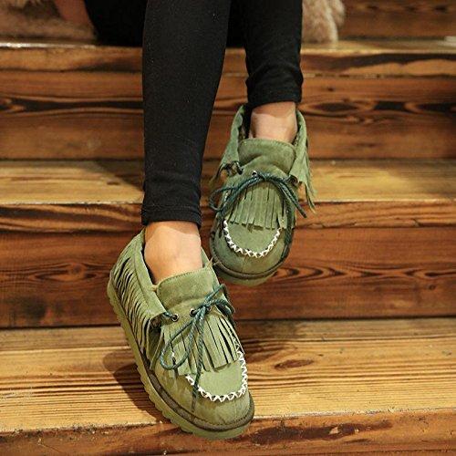 NSXZ Winter fashion tassel tie round snow boots warm ankle boots GREEN-90160CM TdA6U0CV